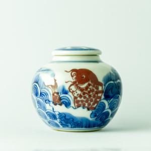 Qinghua small red carp jar