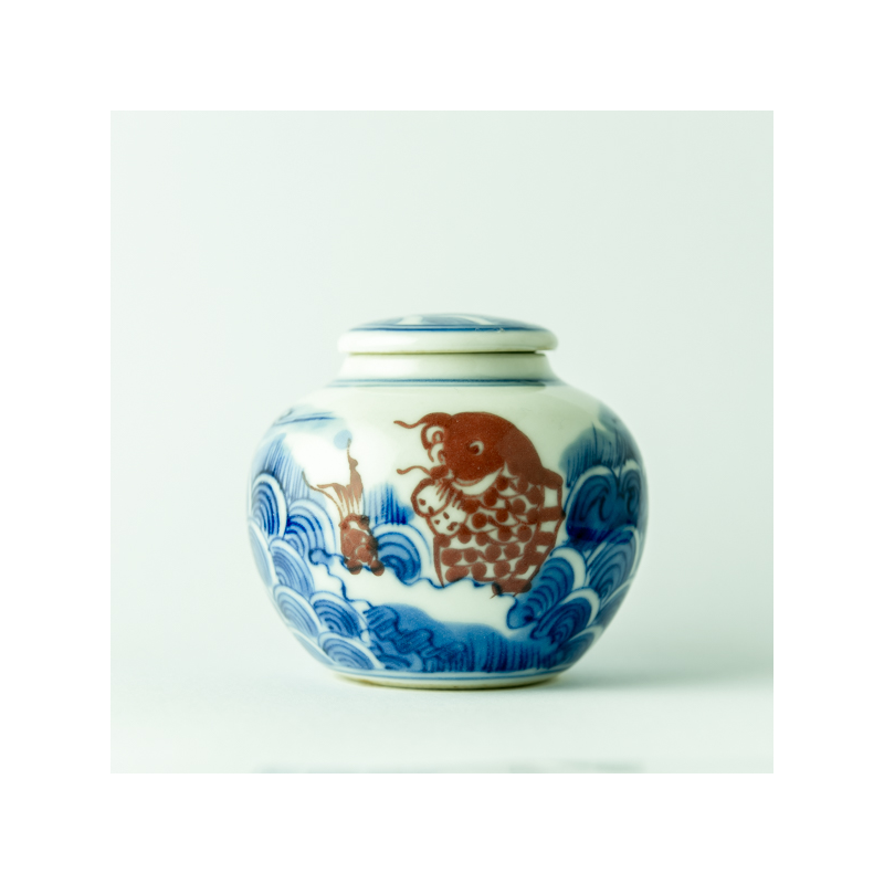 Qinghua small red carp jar