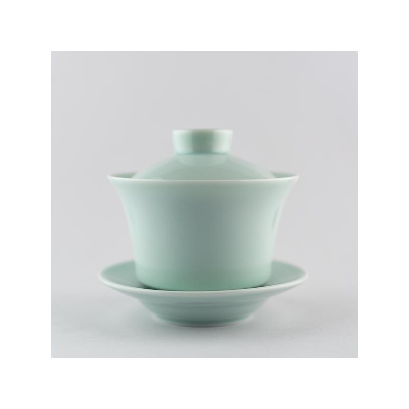 Gaiwan en porcelaine céladon clair - Haut
