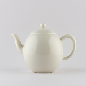 Ivory white egg shaped mini teapot