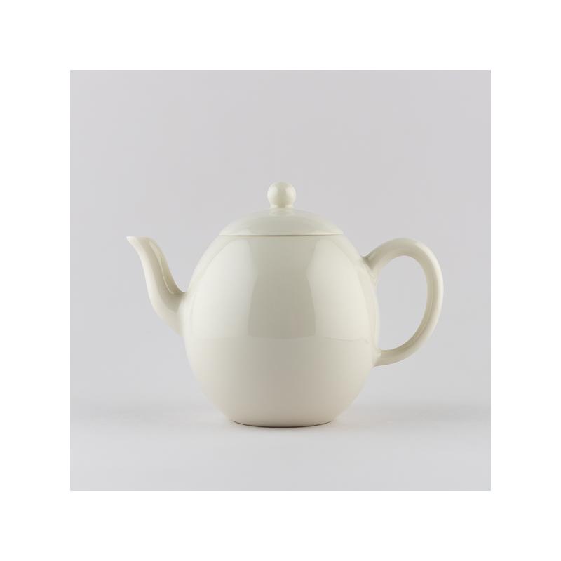 Ivory white egg shaped mini teapot