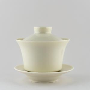 Gaiwan en porcelaine blanche ivoire - Haut