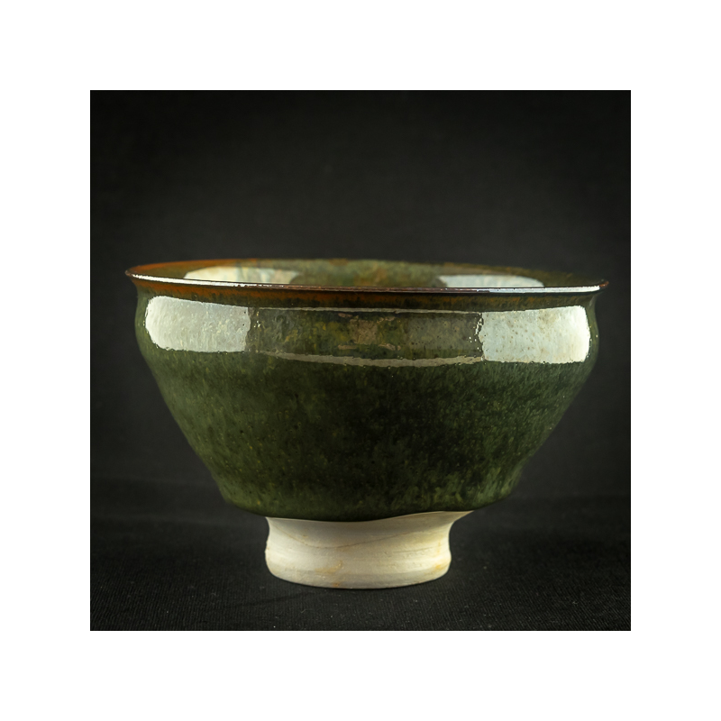 Dark green glazed porcelain tea bowl by Michel François