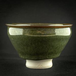 Bol à thé à émaille vert foncé en porcelaine de Michel François