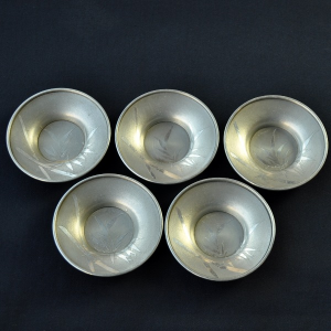5 Japanese pewter Cha Tuo (Bamboo)