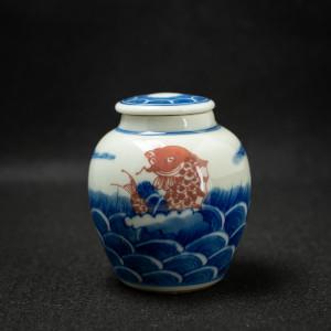 Qinghua red carp jar